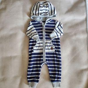 Carter's Navy Stripe Fleece Zippered Onesie 3M